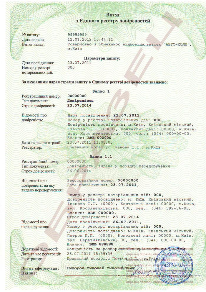 доверенность на автомобиль украина образец