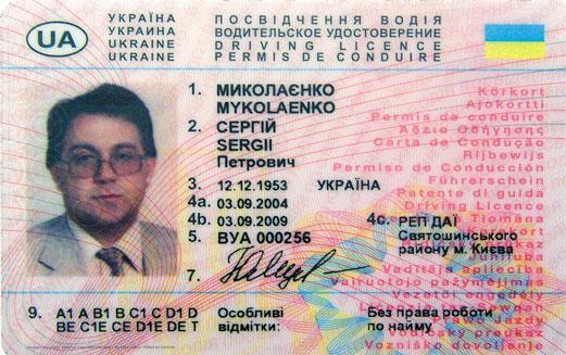 Размер фото на права нового образца украина
